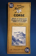 Carte Routiére Ancienne MICHELIN De La CORSE N° 90 Hôtels Et Restaurants 1962 - Cartes Routières
