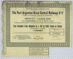Republique Argentine, The Port Argentine Great Central Railways Cy Ltd (quelques Taches) - Chemin De Fer & Tramway