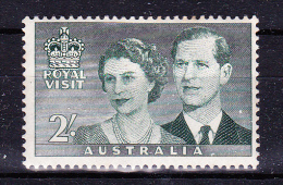 AUSTRALIA 1954,  Royal Visit  , Y&T  #  209   ,  2 Sh      Cv   4.00  E ,   * MLH , V V F - 1952-65 Elizabeth II : Pre-Decimals