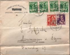 SCHWEIZ - BRIEF SPEICHER/APPENZELL -> MEMMINGEN/BAYERN 3.1.1934 Mi #266-268 - Lettres & Documents
