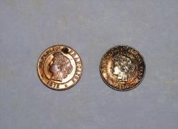 2 Anciennes Monnaies De 1 Centime  CERES, Bronze, 1  De 1875 K Superbe Et Trés RARE Et Une De 1889 A En Bon état TTB - France