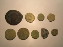 LOT De 9 Monnaies à Identifier - Non Nettoyées - Gauloise ? Romaine ? Royal ? Féodal ? Autre ? ....... - Zonder Classificatie