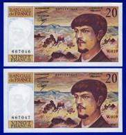 DEUX BILLETS PAIRE 20 FRANCS DEBUSSY NEUF TYPE 1980 ALPHABET W.019 N° 667046 ET 667047 DE 1987 - 1962-1997 ''Francs''