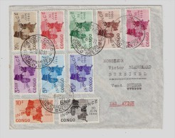 CONGO BELGE, INDEPENDANCE Issue 30 June 1960 FDC Cover, To Switzerland Suisse - Belgisch-Kongo