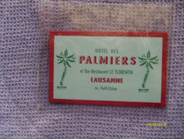 SVIZZERA Epoca Baggage Luggage Label Etichetta  Hotel Des Palmiers LAUSANNE Suisse - Oude Documenten