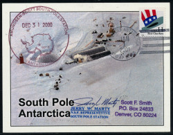 ANTARCTIC, USA, SOUTH POLE-color Card  31.12.2000/ 1.1.2001,NEW MILLENNIUM + Signature !! - Antarctic Expeditions