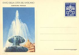 """VATICANO - INTERO POSTALE """"VEDUTE"""" - 1953 - L. 20 - FILAGRANO """"C12 - DISEGNO 3"""" (FONTANA) - NUOVA - Interi Postali"""