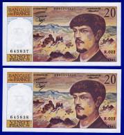 DEUX BILLETS PAIRE 20 FRANCS DEBUSSY NEUFS TYPE 1980 ALPHABET R.022 N° 645838 ET 645837 DE 1987 SPECIALISTES OEIL VAIRON - 1962-1997 ''Francs''