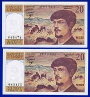 DEUX BILLETS PAIRE 20 FRANCS DEBUSSY NEUF TRACE DE COMPTAGE TYPE 1980 ALPHABET W.022 N° 643474 ET 643475 DE 1987 - 1962-1997 ''Francs''
