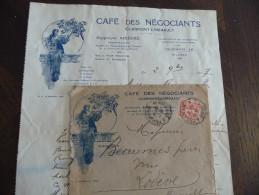 Facture /lettre à En Tête+envelloppe Illustrées.café Des Négociants.Clermont L'Hérault./1927. Art Déco Par Bersuit - Levensmiddelen
