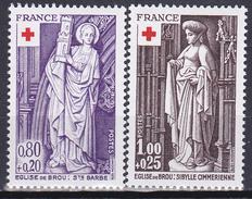 Série De 2 T.-P. Neufs** - Croix-Rouge Sculptures Religieuses De L´église De Brou - N° 1910-1911 (Yvert) - France 1976 - Unused Stamps