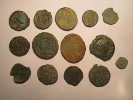LOT De 14 Monnaies à Identifier - Non Nettoyées - Gauloise ? Romaine ? Royal ? Féodal ? Autre ? ....... - Zonder Classificatie