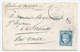 N° 60 CERES SUR LETTRE CHAILLY  SEINE ET MARNE POUR VOULX / 1874 - Marcophilie (Lettres)