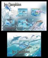 CENTRAL AFRICA 2011 - Dolphins - Mi 3053-6 + B724 - Dolfijnen
