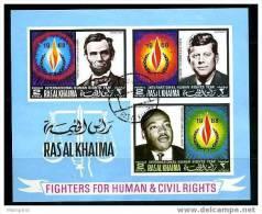RAS AL KHAIMA 1968 Droits De L'hommeL Lincoln, Kennedy Et King Bloc Oblit. - Ras Al-Khaimah