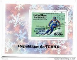 TCHAD 1976 Bloc Feuillet Vainqueur Ski De Descente Innsbruck  Poste Aérienne Scott C180  Oblit. - Chad (1960-...)