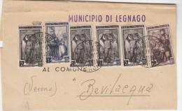 LEGNAGO / VERONA 1951 - AFFRANCATURA MULTIPLA ITALIA AL LAVORO - PIEGO COMUNALE -  L3397 - 6. 1946-.. Repubblica