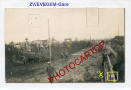 ZWEVEGEM-GARE-Chargement De TROUPES-Carte Photo Allemande-Guerre 14-18-1WK-BELGIQUE-BELGIEN-Militaria- - Zwevegem
