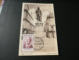 CARTE PREMIER JOUR DIDEROT Statue Langres 7 Juin 1958 - Cartes-Maximum