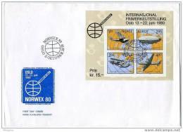 NORVÈGE 1979  Avions  Et Dirigeable , Carte  Bloc Feuillet Mi Nr Bloc 2 - FDC
