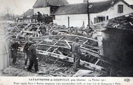 LA CATASTROPHE DE COURVILLE LE 14.03.1911 - TRAIN RAPIDE PARIS A RENNES TAMPONNE UN TRAIN DE MARCHANDISES - ANIMEE - TOP - Katastrophen