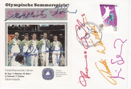 """OLYMPISCHE SPIELE-OLYMPIC GAMES, Korea Rep., 1988, Special Cancellation With Autographs"""" !! - Ete 1988: Séoul"""