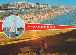 VersiliRivazzurra Di Rimini - Accogliente Spiaggia (animata (viaggiata X Baggiovara (MO) Il 17/8/75 - Rimini