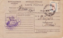 GUERRE 39/45 - CARTE POSTALE DE RAVITAILLEMENT Avec Cachet Mairie HARNES (P.d.C.) - Scan Recto - Verso - Otras Guerras