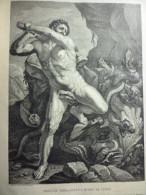 Hercule Terrassant L'Hydre De Lerne , Gravure De Gelée 1882 D'aprés Nicolas Poussin - Documents Historiques