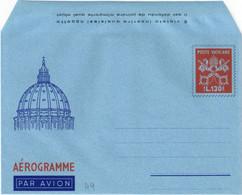 "VATICANO - INTERO POSTALE / AEROGRAMMA - AEROGRAMME TIPO PAOLO VI L. 130 - 1966 - CATALOGO FILAGRANO ""A9"" - NUOVO ** - Postwaardestukken"