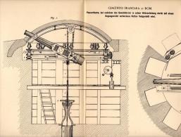 Original Patentschrift - Giacinto Frascara In Rom , 1890 , Turm Für Panzer Mit Kette , Geschütz , Bunker , Kanone !!! - Fahrzeuge