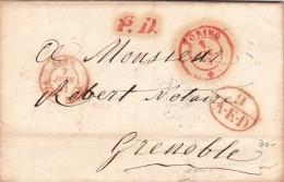 Pref. Torino To Grenoble 1851 Con Contenuto . Timbri In Rosso - Italy