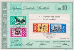 Deutschland 1976 Förderungszertifikat Deutsche Sporthilfe Michel Nr 886 887 888 889 - Lettres & Documents