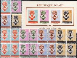 Weltflüchlings-Jahr Haiti 706/9,VB+Block 24 ** 20€ UNO-Emblem Bloque WFJ Overprint 1962 M/s Bloc Symbol Sheet Bf Caribic - Haïti