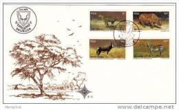 1976  Official FDC  # 2.15 WWF Wildlife Protection: Cheetah, Black Rhinoceros, Antelope, Zebra - FDC