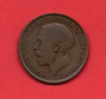UK, 1910,  VF Circulated Coin, 1 Penny, Edward VIII, Bronze, , Km 810, C1777 - 1902-1971 : Post-Victorian Coins
