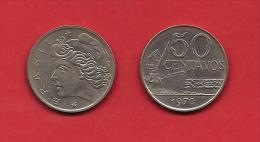 BRASIL, 1970, XF Circulated Coin, 50 Centavos,  Nickel Km580, C1790 - Brazilië