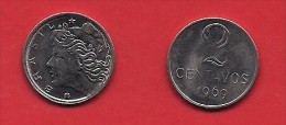 BRASIL, 1969, XF Circulated Coin, 2 Centavos,  Stainless Steel, Km576.2, C1794 - Brazil