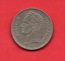 VENEZUELA, 1989, XF Circulated Coin, 1 Bolivar, Nickel Clad Steell, Km 52a, C1796 - Venezuela