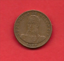 COLOMBIA,1977, XF Circulated Coin, 2 Pesos , Copper Alu Nickel,  KM 263,  C1818 - Colombia