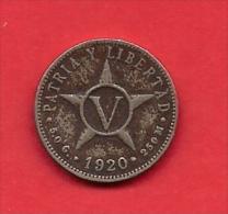 CUBA, 1920, VF Circulated Coin, 5 Centimos, .opper Nickel  KM 11,  C1824 - Cuba