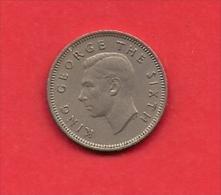 NEW ZEALAND, 1948, XF Circulated Coin, 6 Pence, Copper Nickel  Km 16,  C1846 - Nieuw-Zeeland