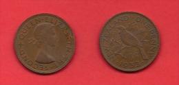 NEW ZEALAND, 1953-1955,  XF Circulated Coin, 1 Penny, QEII, Km24.1,  C1856 - Nieuw-Zeeland