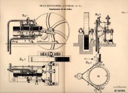 Original Patentschrift - Iwan Kentnowski In Sohrau / Zory , 1890 , Dampfmaschine Mit Drei Kolben , Schlesien !!! - Maschinen
