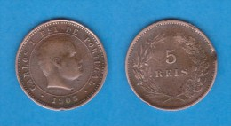 PORTUGAL  (D.Carlos I 1889-1908)  5 Reis 1.905 Bronce KM#530   MBC/VF   DL-10.733 - Portugal