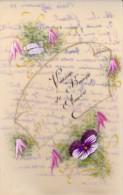 CARTE POSTALE EN RHODOID-PEINTE - VOEUX BONNE ANNEE 1923 - Peintures & Tableaux