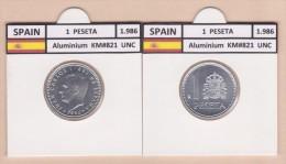 SPAIN /JUAN CARLOS I    1 PESETA  1.986  Aluminium  KM#821   UNCirculated  T-DL-9376 - [5] 1949-…: Monarchie