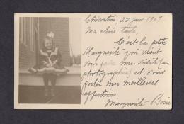 REAL PHOTO CABINET - VRAIS PHOTO POSTCARD - AROUND 1907 -1910 - CARTE ÉCRITE EN 1907 JOLIE FILLETTE - Photographie
