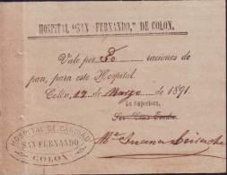 E4613 CUBA SPAIN1891 VALE FOR PAN. HOSPITAL S.FERNAND0 ESPAÑA - Unclassified