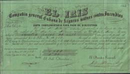 "E4615 CUBA SPAIN 1864 INSURANCE FIRE \""EL IRIS\ ESPAÑA - Invoices & Commercial Documents"